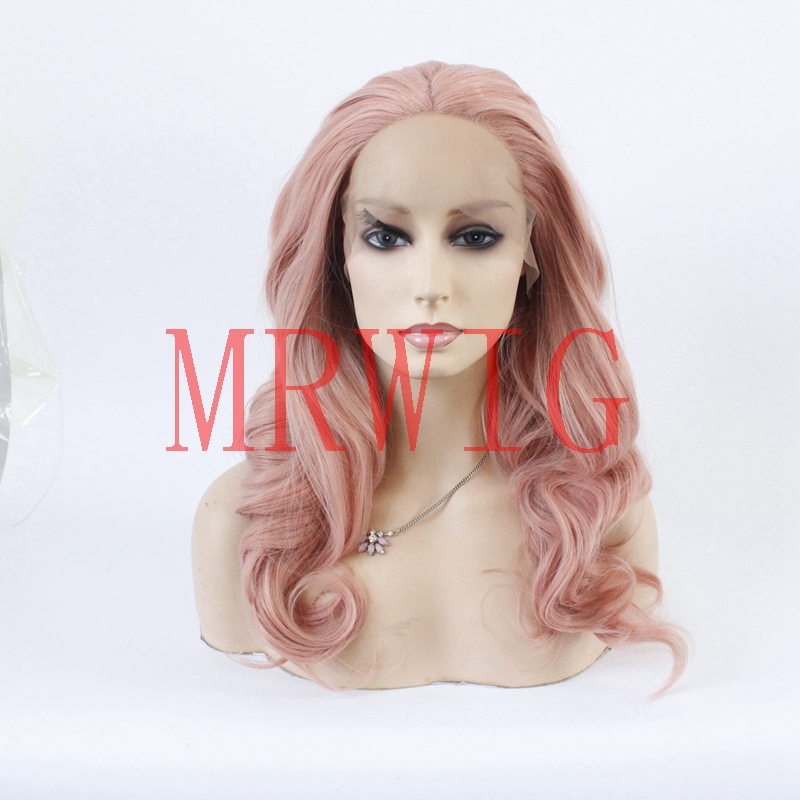 MRWIG dark pink synthetic front lace wig glueless middle part for woman natural looking hair 18in real hair