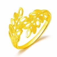 Чистый 24 К желтого золота кольцо цветок Для женщин кольцо