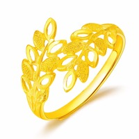 Pure 24K Yellow Gold Flower Ring Women's Ring