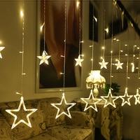 4Meter X60 100cm Romantic Fairy Star Led Curtain String Light Warm White EU220V Xmas Garland Light
