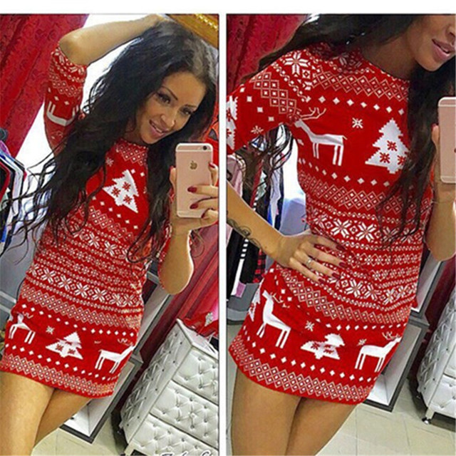New Style Fashion Sexy Women Chrismas Party Loose Dress Cocktail Short Dress Bodycon Dress Mini