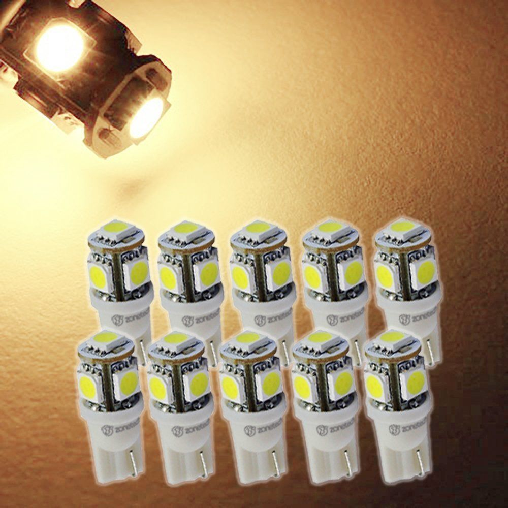 CYAN SOIL BAY 10PCS T10 5050 5SMD 5 SMD Warm White LED Car Truck Light Wedge Lamp Indicator Bulbs Super Bright DC 12V 24V 1pcs t10 led w5w 5050 5smd 192 168 194 white lights led car light wedge lamp bulbs super bright dc 12v license plate light drl