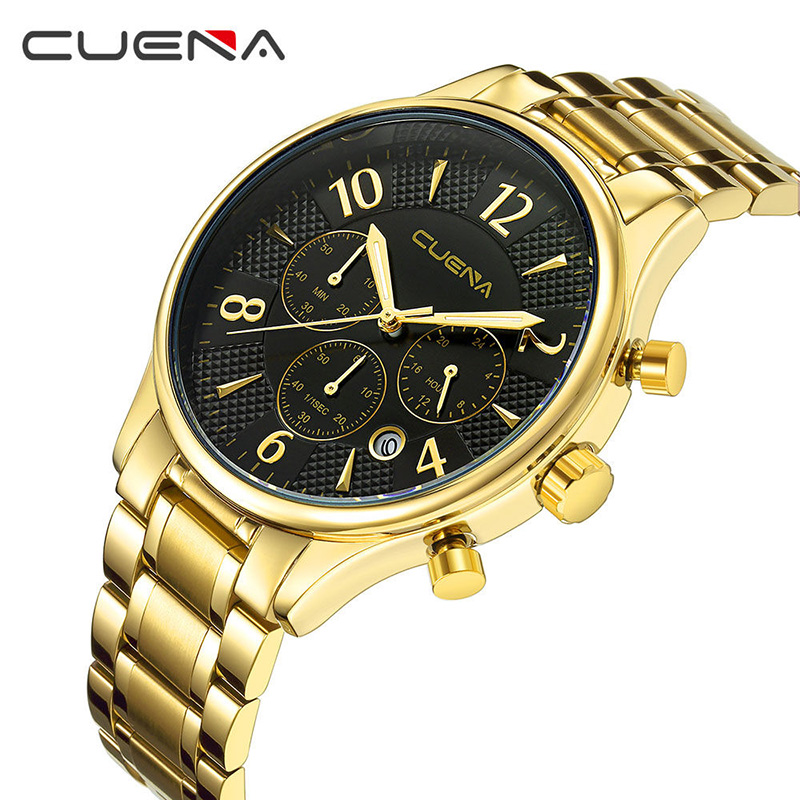CUENA Fashion Mens Watches Top Brand Luxury Stainless Steel Waterproof Man Quartz Wristwatches Men Sport Watch Relogio Masculino men fashion quartz watch mans full steel sports watches top brand luxury cuena relogio masculino wristwatches 6801g clock