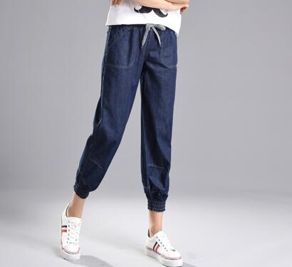 Harem pants for women denim casual jeans female high waist capris new fashion summer elstic waist bloomers female yss0807 flower embroidery jeans female blue casual pants capris 2017 spring summer pockets straight jeans women bottom a46 page 3