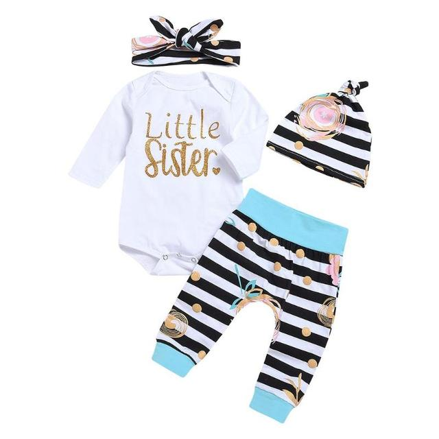bd10acf38bed 4pcs Set Newborn Baby Clothes Set Girls Cute White Long Sleeve O ...