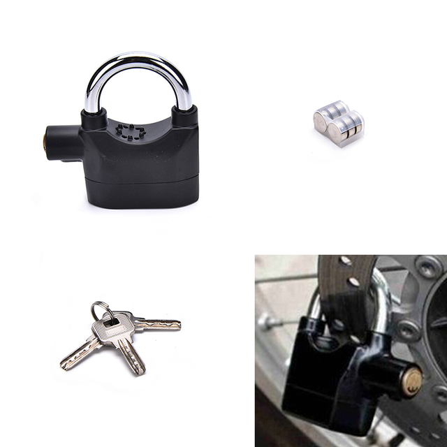 New Anti Theft Padlock Sound Alarm Lock Security With Key For