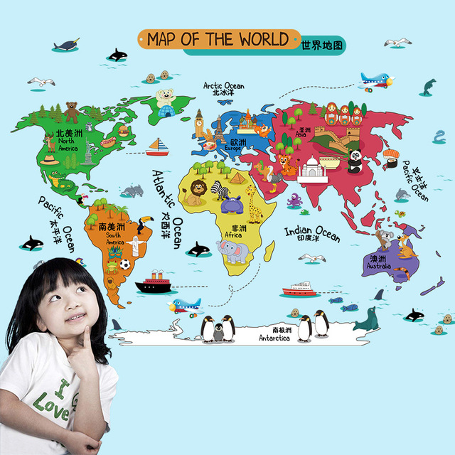 New cartoon animal world map bedroom living room decoration can new cartoon animal world map bedroom living room decoration can remove color wall stickers ql gumiabroncs Gallery