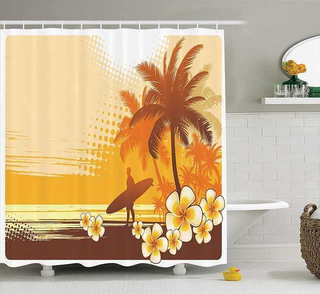 Surf Decor Shower Curtain Silhouette
