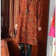 Весна Китайский стиль винтаж чистый лен v-образным вырезом Свободная блузка