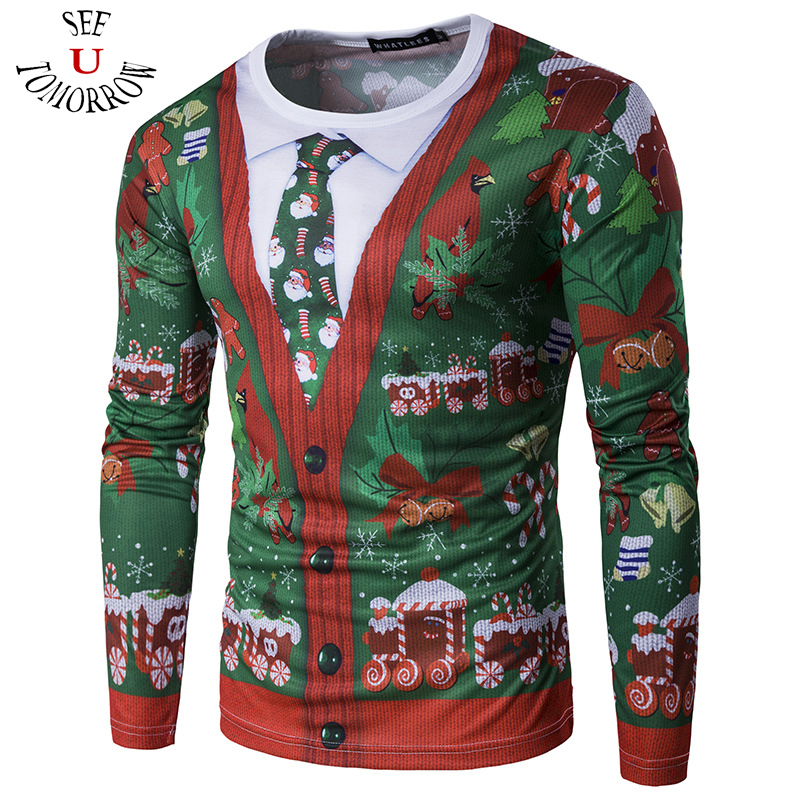 2017 New Mens t shirts Casual Christmas 3D Printed Funny Feliz Navidad Ugly Sweater Long Sleeve T-Shirts O-neck Silm Tops Gifts ...