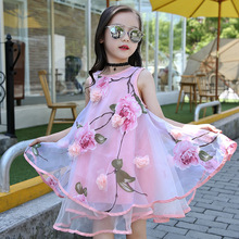 Girls Sleeveless 3 D Flower Dresses Summer 2017 Teenagers Girls Cotton Dress Child Party Princess Dress Kids Clothes 4-12T(China)