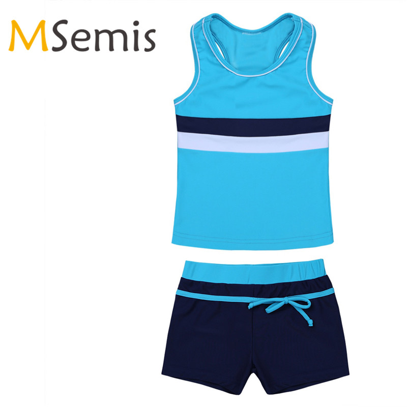 Children's Tankini Swimsuit Two Pieces Swimwear Gymnastics Leotard Swimming Suit Tops With Shorts Beachwear For Kids Girls