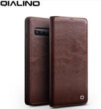 QIALINO luxe en cuir véritable housse de téléphone pour Samsung Galaxy S10 5.8 pouces élégant Ultra mince étui à rabat pour Galaxy S10 Plus