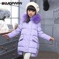 2016 Meninas Para Baixo Casaco de Inverno Casacos Longos Casacos Crianças Coats Moda Big Collar Pockets Sólidos Grosso Casaco Quente Casaco de 120-150