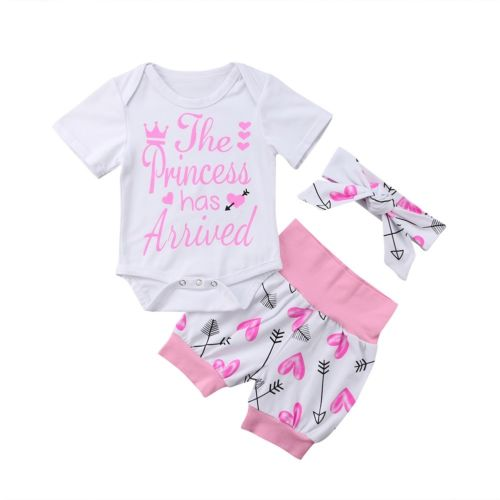 Baby Girls Letter Print Romper + Arrow Pants Leggings Outfit Clothes 3 pcs baby cloth se ...