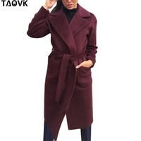 TAOVK Women's Jackets & Coats Medium long Belt Wool & Blends Coat Turn down Collar Solid Color Pockets Parka