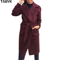 TAOVK Women's Jackets & Coats Medium long Belt Wool & Blends Coat Turn down Collar Solid Color Pockets Parka