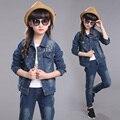 Roupa de Bebé Skinny Jeans Rasgado Azul Denim Jacket & Pants 2 Peça Definido Para crianças Meninas 3 Anos de Idade 4 5 6 7 8 9 10 11 12 Anos de Idade