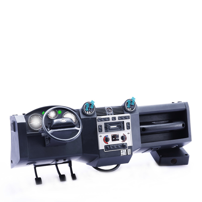 Simulé Centre Console SZM avec Ventilateur Simulé Lumière Pied Pédale Plaque pour RC Modèle Escalade Voiture Traxxas TRX4 Terre- rover DEFENDE