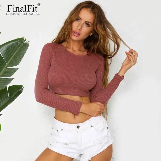 4fce85dc27 Lace Up Cropped Sweater Women Jumpers Autumn Wool Pullover Women Pull Femme  Sueter Mujer