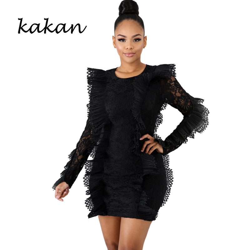 Kakan women 39 s ruffled lace dress round neck perspective bag hip dress white wine red black blue dress in Dresses from Women 39 s Clothing