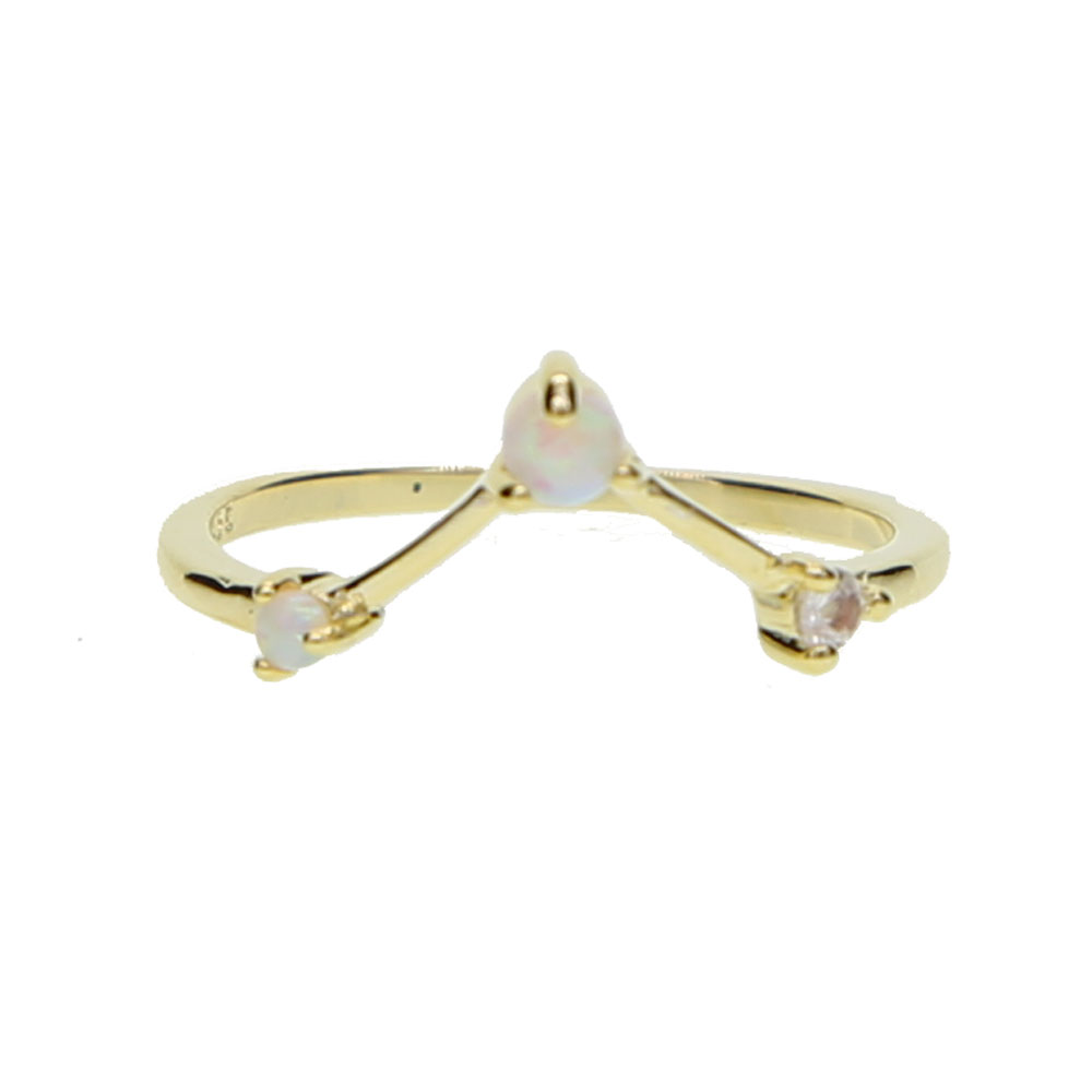 Gold color V shape letter V opal jewelry minimalist thin band fashion elegant stackable women female jewelry rings gold filled