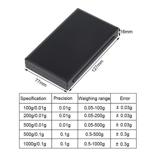 Urijk 1Pcs Precise Digital Scale 100/200/300/500/1000g 0.01/0.1g LCD Display Pocket Gram Weight 1