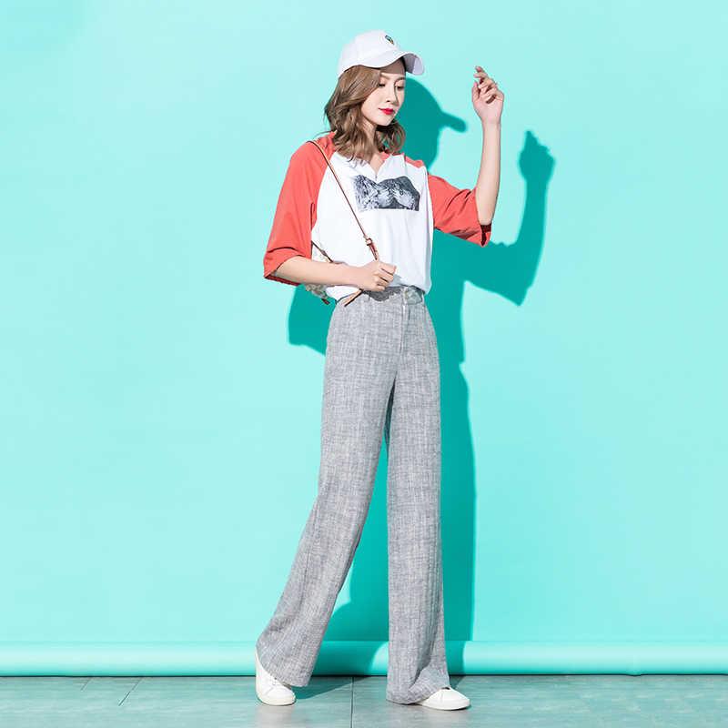Mulheres Linho Calças de Pernas Largas 2019 Primavera Cintura Alta Kintted Listrado Cinza Calças Palazzo Calças Streetwear Coreano Plus Size 5XL