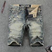 Italian Vintage Style Fashion Men Short Jeans Retro Ripped Denim Shorts Summer Streetwear Hip Hop hombre