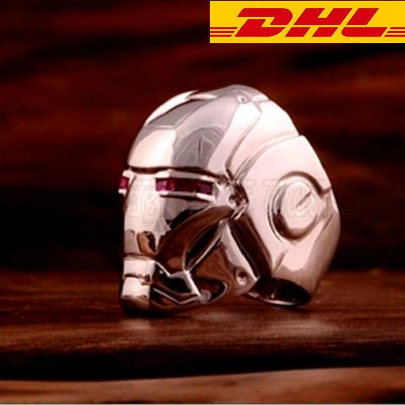 Cool Design Iron Man Ring SL925 Robert Downey Jr.Hero Silver Ring Cool Ring Iron Man helmet Ring Collectible Model Boxed T114 чехол для iphone 5 printio iron man robert john downey jr