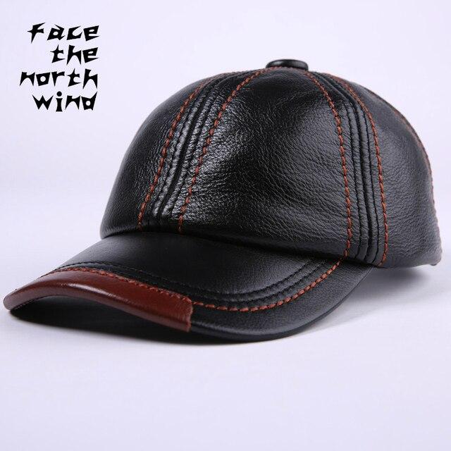efa9305d3a18f Véritable cuir chapeau homme casquette homme peau de vache chapeau loisirs  temps plein air casquette de