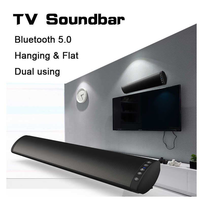 20 W Bluetooth 5.0 TV Soundbar Speaker Nirkabel Stereo Home Theater HI FI Kolom Surround USB Sound System Dinding Suara bar