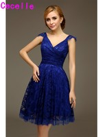 2017 Real Short Royal Blue Lace Bridesmaid Dresses With Straps Vintage A-line Knee Length Cute Wedding Bridesmaid Robes Custom