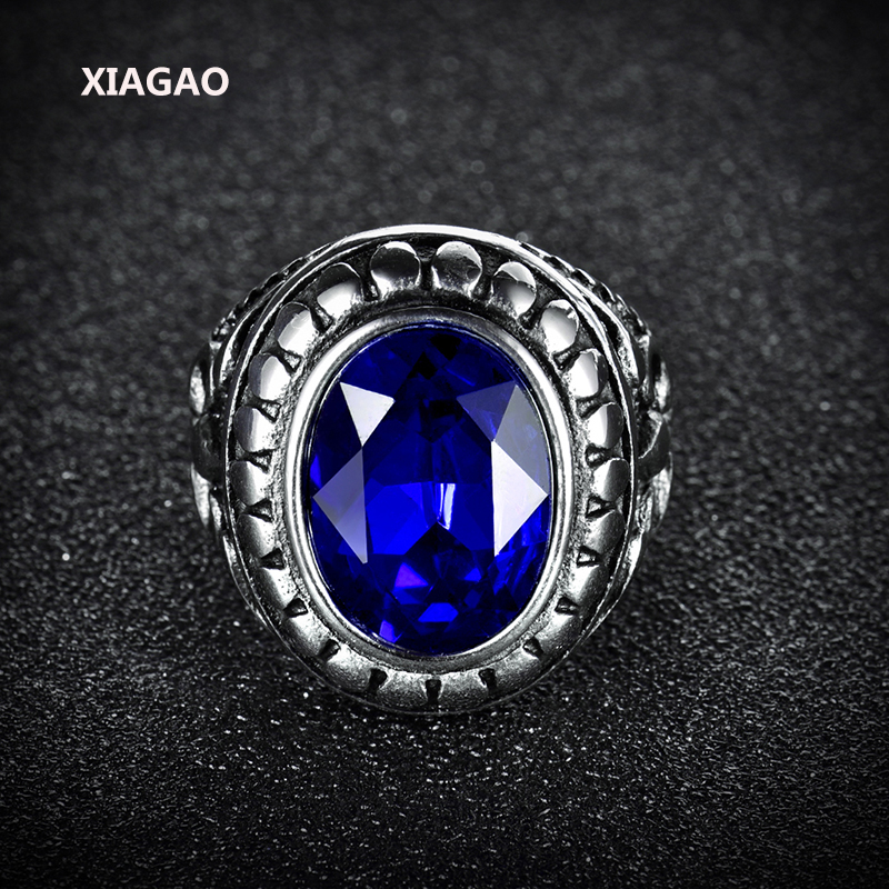 XIAGAO Ring for Man Blue & Red Oval Stone Titanium Stainless Steel Men Cross Ring Trendy Male's Jewelry Accessories for Boy xiagao cool punk real 316l stainless steel red ring men s big red crystal red stones finger rings for man gothic casting ring