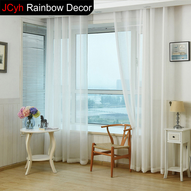 Door Tulle Curtains Kitchen Balcony Cortinas Window Blinds Curtain Fabric  White Chiffon Living Room Sheer Curtains