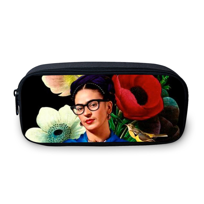 VEEVANV Girls Pencil Case Funny Frida Kahlo Printing Pen Organizer Wallets Travel Makeup Case Wash Pouch Coin Purse Change Bags