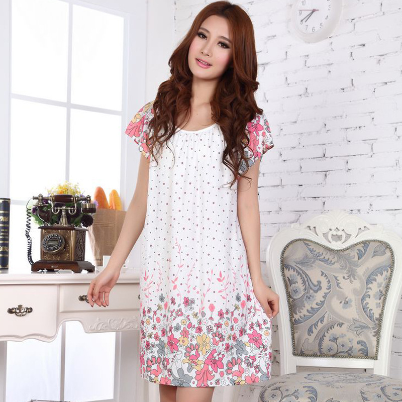Summer Nightgown Nightdress for Women Ladies Lingerie Pajama Maternity Sleepwear Pregnant Nightwear Short Sleeve Robes Pajamas