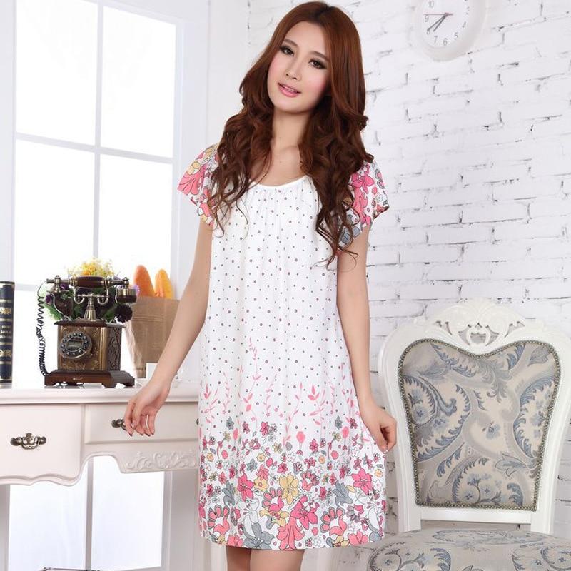 Summer Nightgown Nightdress for Women Ladies Lingerie Pajama Maternity Sleepwear Pregnant Nightwear Short Sleeve Robes Pajamas