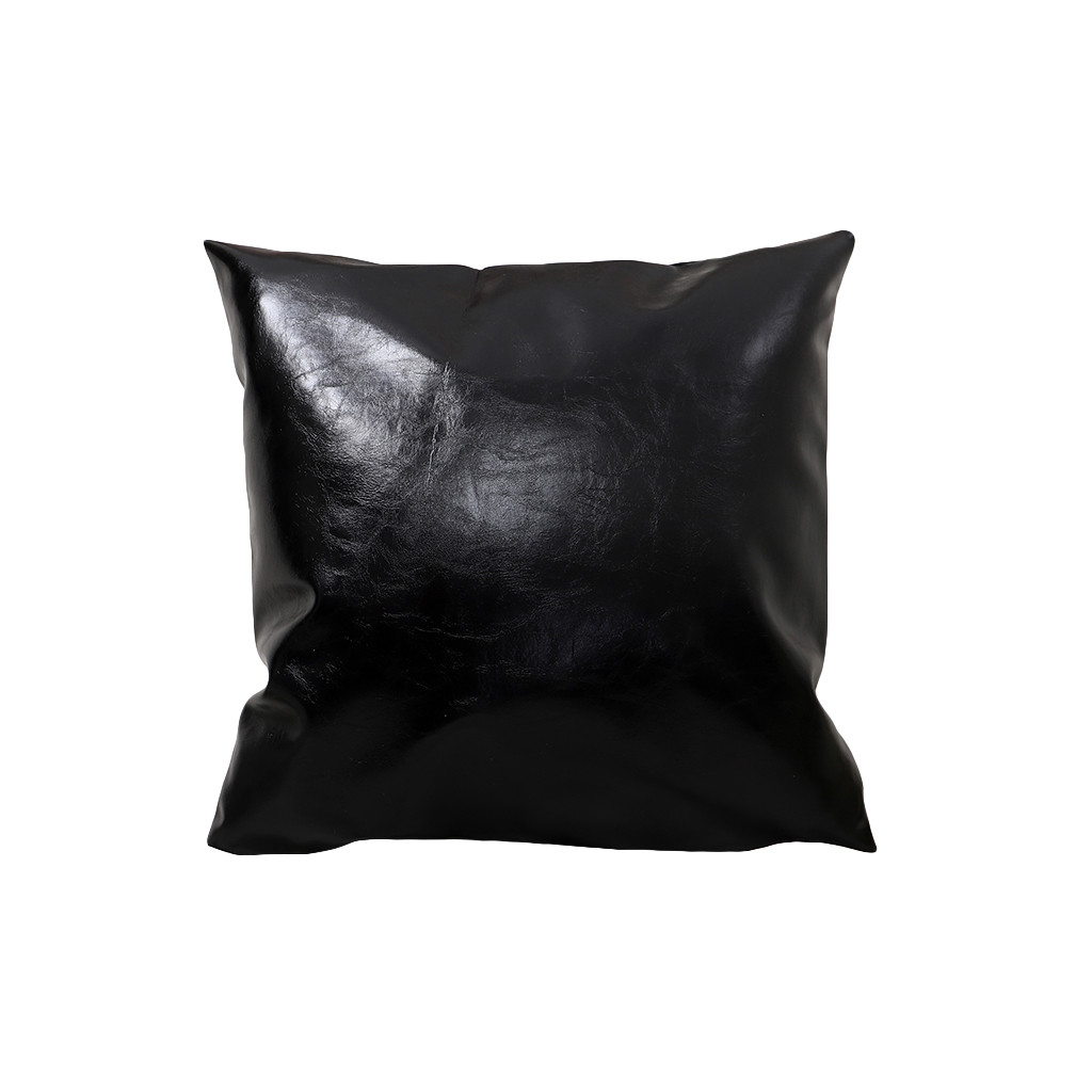 New Pillow Cover Black Faux Leather Covers Throw Pillowcase  For Home Solid Color Pillow Case 45*45 Pillowcases Silk Pillowcase
