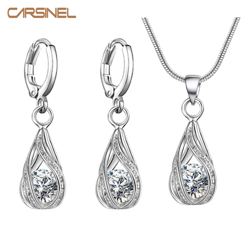 CARSINEL Women Bridal Jewelry Set Silver color Fashion Necklace and Drop Earring Cubic Zircon Wedding Jewelry Sets for women