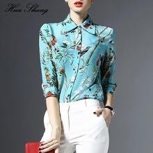 2016 Summer Floral Print Ladies Office Shirts Plus Size Turn Down Collar Womens Tops And Blouses Blusa Feminino