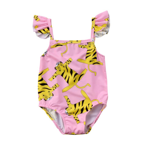 1d7aa74ec8 Cartoon Summer Kids Swimming Suit Baby Girls Tiger Print Swimwear Kids One  Piece Bathing Suit Swimsuit
