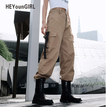 HEYounGIRL Streetwear Khaki Cargo Pants Women Capri Casual High Waist Trousers Black