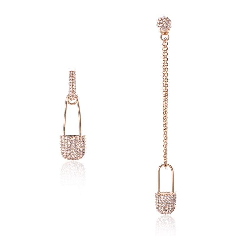 XIUMEIYIZU Fashion Jewelry Rose Gold Color Pave CZ Safety Pin Earrings Asymmetry Long Copper Chain Drop Earrings