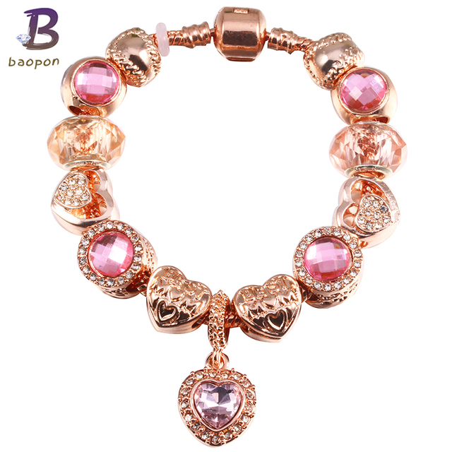 BAOPON Jewelry Antique Rose Gold Charm Bracelet Green Glass Charm