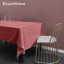 ESSIE HOME Rose Pink Coral Single Side Matte Velvet High End Table Cloth Linen Wedding Decoration Placemat