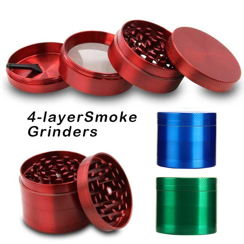 4Layers Aluminum Tobacco Grinder Weed Grinder Tobacco Smoking Herb Grinder Spice Herbal Hand Crank Crusher Accessories L*C
