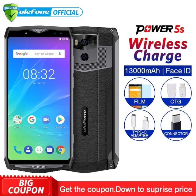 "Ulefone мощность 5S 13000 мАч Мобильный телефон Android 8,1 6,0 ""FHD MTK6763 Octa Core 4 Гб + 64 21MP уход за кожей лица ID беспроводной зарядки смартфон"