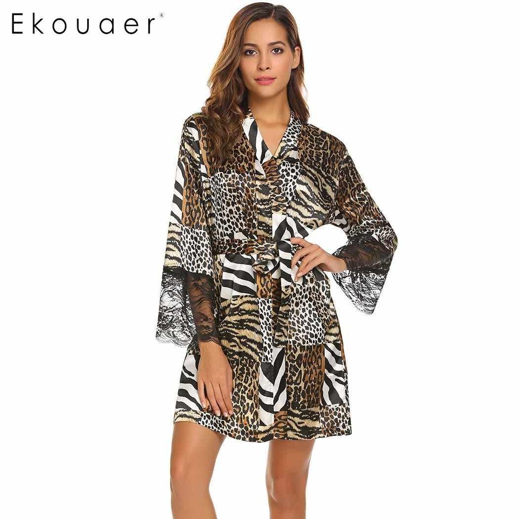 4d58ffbe6b2f4 Ekouaer сексуальный женский халат кимоно с длинным рукавом Халат Кружевной  Отделкой Ночная сорочка с леопардовым принтом