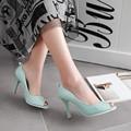 De gran tamaño 33-43 NUEVA peep toe mujeres bombas tacones finos sólidos de color dulce de moda del banquete de boda zapatos de mujer tacones altos AA359